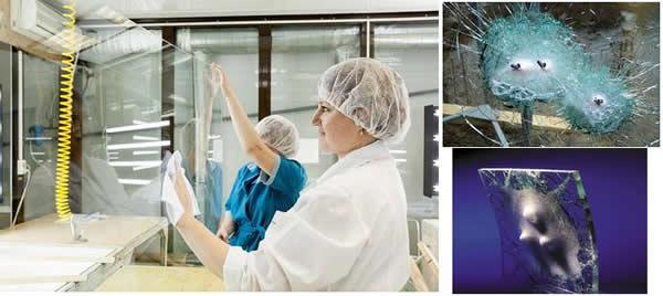 Производство бронированного стекла.