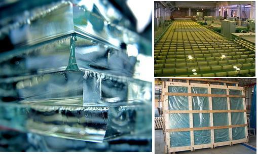 Производство листового стекла.