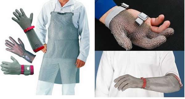 Защитные кольчужные перчатки и фартуки. Маленькие колечки из металла, собранные в единое полотно, помогают защитить руки от порезов при работе с ножом.