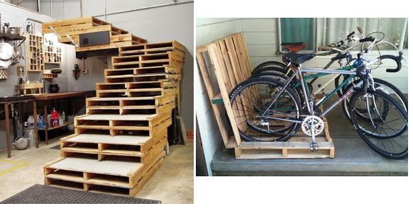 Лестницы и велопарковки из поддонов: